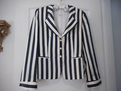 Armani Collezioni Made In Italy Navy & Off-White Stripe Silk Jacket Sz 10