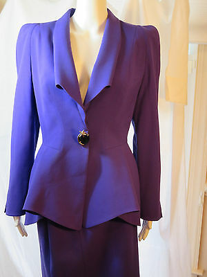 Rare!!!!  Vintage Purple Thierry Mugler Skirt Suit 42/10 W/jeweled Star Closure