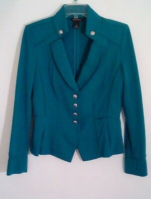 White House Black Market Womens Blazer Knit Military Green Sz 10