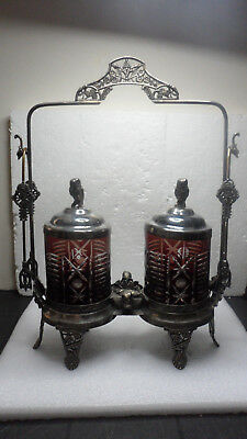 ANTIQUE VICTORIAN DOUBLE PICKLE CASTOR RUBY FLASH JARS and OWLS & TALL FRAME