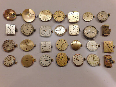 Omega Vintage Wrist Watch Movements . A Collection Of 28 Items For Spare Parts