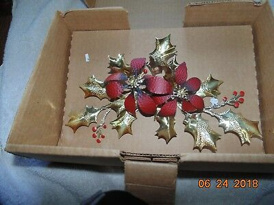 New Homco Home Interiors flowers leaves Brass,Copper red  Wall Swag Holly Box