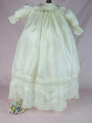 Edwardian True Antique Pure Silk Long Baby Dress / Gown for Vintage, Reborn Doll