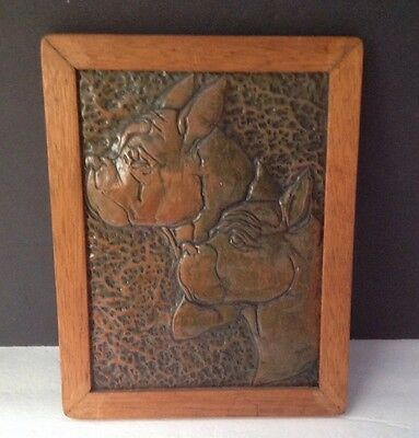 Yesteryear HIGH RELIEF Copper Framed BULL DOGS  very old & beautiful