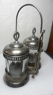 Antique Victorian Silver Double Pickle Castor 8 Sided Glass Inserts & Tongs