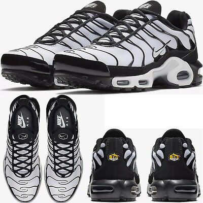 66f35a75626f72 NIKE AIR MAX PLUS Tn Black White MENS COMFY SHOES PREMIUM LIFESTYLE SNEAKERS