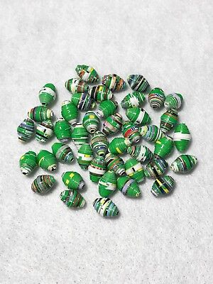 Lot Of 44 New Handmade Beads Recycle Paper Multiple Colors Green