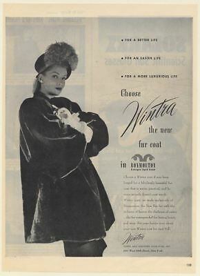1946 Wintra Lady Fur Coat in Bonmouton Eitingon Dyed Lamb Print Ad