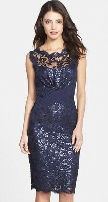 9c75fe02 NWT TADASHI SHOJI SZ 14 Sequin Lace Sheath Dress- Royal Navy Blue ...