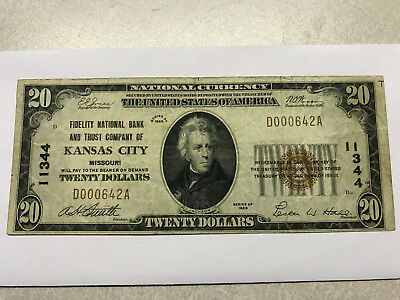 1929 20 Dollar Nation Currency Note Kansas City VF+ #13779