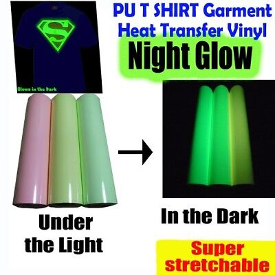 1mx0.5m PU T-SHIRT GARMENT NIGHT GLOW VINYL HEAT PRESS TRANSFER FILM ROLL
