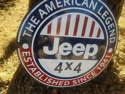 """""""JEEP"""" gas and oil 20x20 Vintage Steel porcelain old Convex sign."""