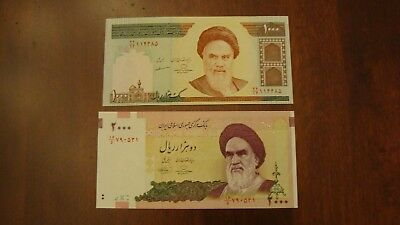 Lot of 2 Iran banknotes-1000 and 2000 Rials-paper money currency Uncirculated