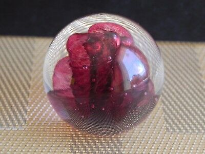 "Vintage 2"" GES Glass Eye Studio Pink Swirl Bubbled Swirl Paperweight 96 Signed"