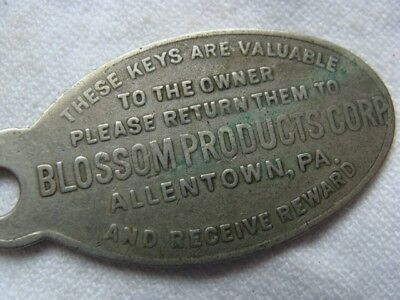 Vintage Key Tag Fob - Drop in Mail - Reward, BLOSSOM PRODUCTS Allentown, Pa.