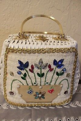 Vintage purse rhinestones/flowers/woven- House of rare gifts-key west,fl