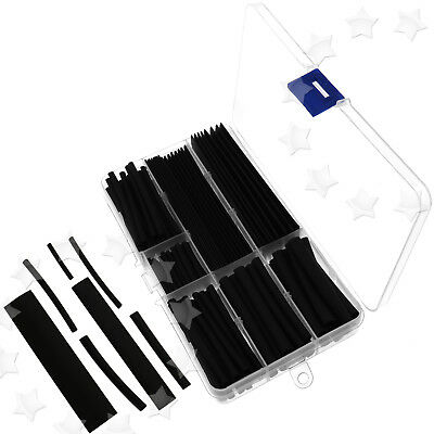 150Pcs 8 Sizes Black Car Electrical Heat Shrink Tube 2:1 Cable Wire Kit