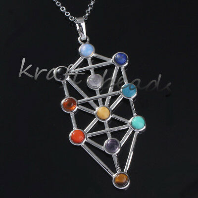 Natural Gemstone kabbalah Tree Of Life Hearing Point Chakra Pendant Necklace