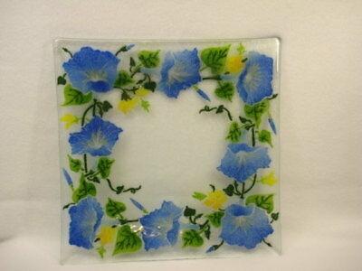 """Peggy Karr 10"""" Square Glass Morning Glory Tray/ Plate NO RESERVE NR"""