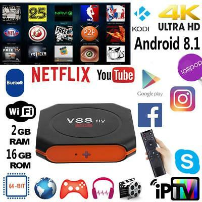 V88 Fly 4K Smart TV Box 2GB+16GB Android 8.1 Quad Core WiFi 1080P 64 Bit IPTV