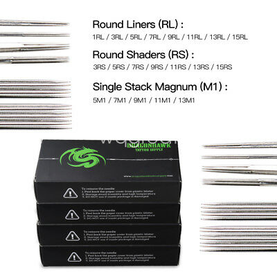 200 pc Sterile Tattoo Needles Kit Steel Round Liner Shader Varied Sizes Supplies