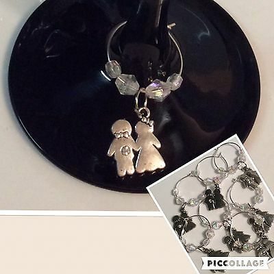 100 Champagne Wine Glass Charms Wedding Dress   Bomboniere Guests Bridal Gift