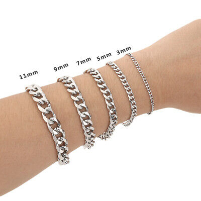 "8.6"" MENS Silver Stainless Steel Chain Bracelet 3/5/7/9/11/mm Cuban Curb Link"