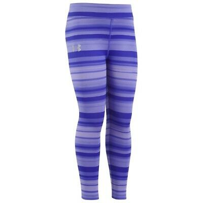 Girls Under Armour Youth Blurred Stripe Leggings Purple New
