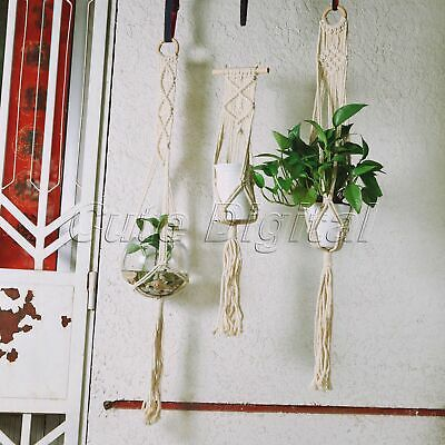 Garden Plant Hanger Decor Macrame 4 Leg Flowerpot Gardenpot Holder Lifting Rope