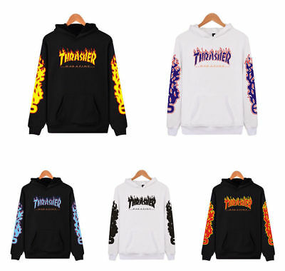 Men & Women Thrasher Flame Pullover Hoodie Sweaters Skateboard Sweatshirts NEW