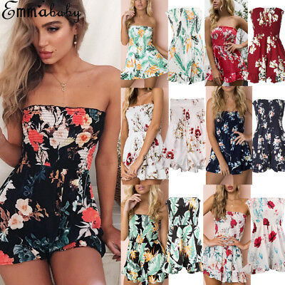 AU Women Summer Bandeau Jumpsuit Strapless Playsuits Summer Beach Shorts Romper