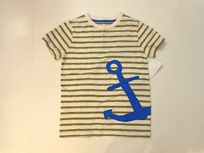 NWT $30 Mini Boden boy's size 7 - 8 years s/s shirt, Green/Ivory/Organi Anchor