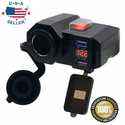 12V Dual USB Motorcycle Cigarette Lighter Waterproof Power Port Outlet Socket