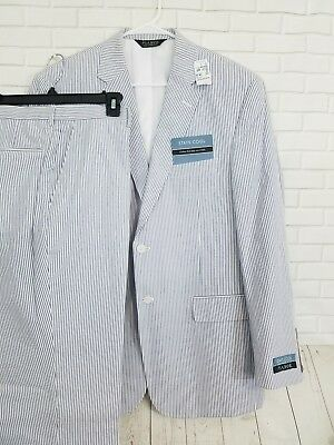 Jos a Bank Stay Cool Seersucker Suit - Size 33Reg Navy Stripes 2 Button
