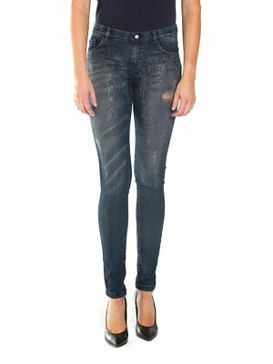 Denim Donna Diamante Glitter Bling Luccicante vita alta Stretch Leggings Jegging