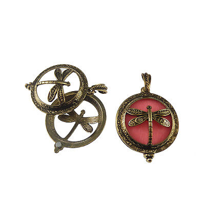 Pack of 2 Antiqued Bronze Brass Metal Round Butterfly Locket Pendants 43x35 MM