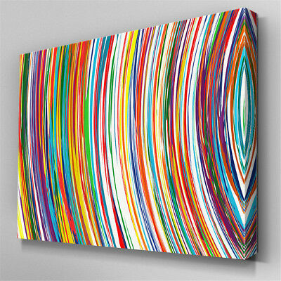 Multi Colour Stripes Modern Canvas Wall Art Prints Abstract Picture Unframed