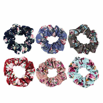 Vintage Floral Cotton Fabric Scrunchies Flower Hair Ties Women Hair Accessories