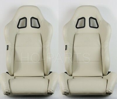 2 X Tanaka Beige Pvc Leather Racing Seats Dual Recliner + Sliders Fits Vw