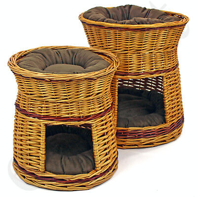 Wicker Willow 2 Tier Pet Bunk Bed Basket Cat Kitten Puppy Small Dog Animal House