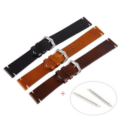 Vintage Genuine Leather Wrist Watch Band Strap+Pin Replacement 18-20-22mm US