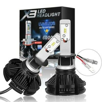COPPIA LAMPADE X3 LED HEADLIGHT H7 LED CREE 6500K 6000 LUMEN 12V XENON FARI AUTO