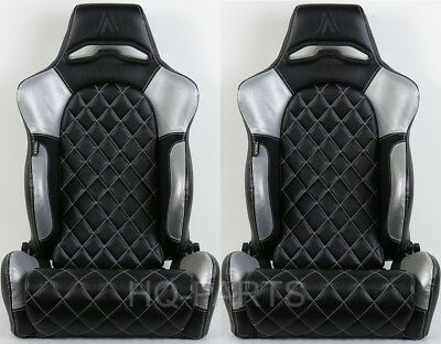 2 X Tanaka Universal Black Silver Pvc Leather Racing Seat Recline Diamond Stitch