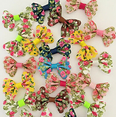 10 Floral Cotton Bows 4cm Wide in Assorted Colours for Craft Sewing Applique DIY