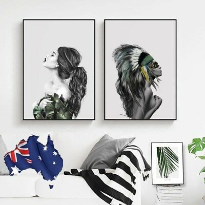 2pcs Nordic Tribe Girl Canvas Art Poster Prints Picture Painting Home Wall Decor