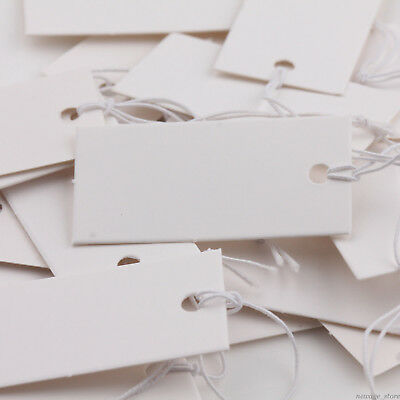 100X Rectangle Price Tags Jewelry Label With Elastic String Display Price Tags