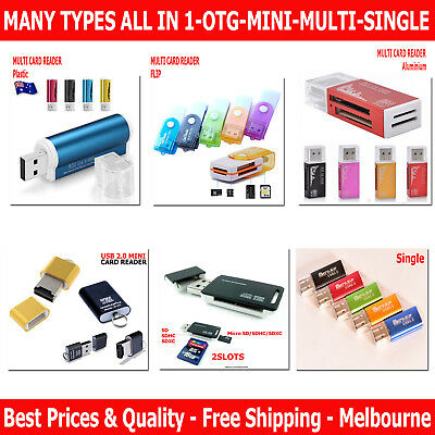 USB 2.0 All in One Multi & Single Memory Card Reader MS M2 Micro SD HC 6 Types