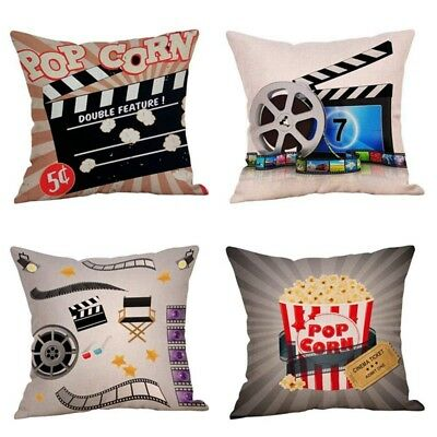 Movie Theater Cinema Personalized Design Throw Pillow Cover 18 x18 Inch Set of 4