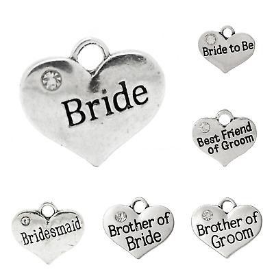 Baby and Wedding heart charms rhodium plate 16mm x 14mm antique silver x Qty 4