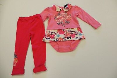 Harley Davidson Infant Baby Girl Two Pieces Suit Pink Leotard Dress and Trousers